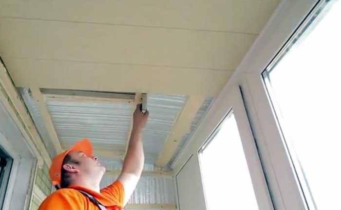 Утепление потолка на балконе